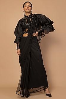 Black Embroidered Saree Set by Siddartha Tytler