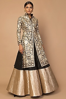 Gold Embroidered Jacket Lehenga Set by Siddartha Tytler
