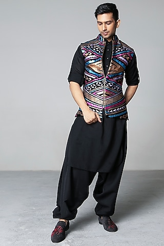 Multi Colored & Black Appliques Waistcoat Set by Siddartha Tytler Men