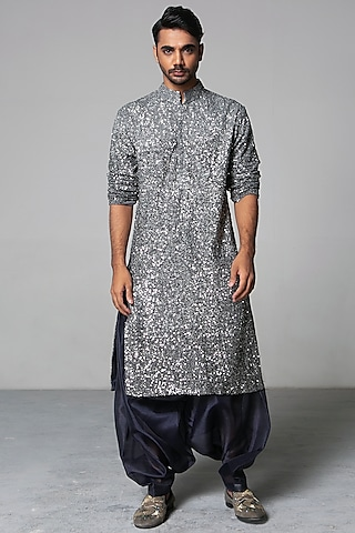 Grey & Charcoal Embroidered Kurta Set by Siddartha Tytler Men