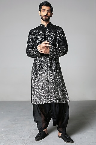 Black Ombre Embroidered Kurta Set by Siddartha Tytler Men
