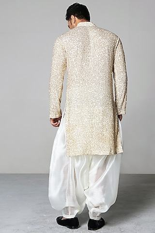 Nude Embroidered Kurta Set by Siddartha Tytler Men