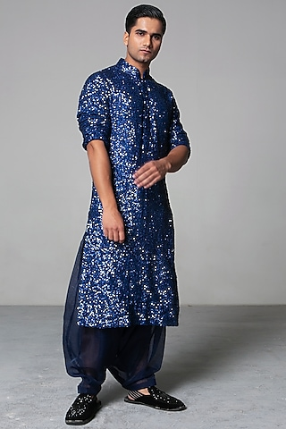 Cobalt Blue Embroidered Kurta Set by Siddartha Tytler Men
