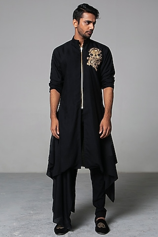 Black Khadi Cotton Kurta Set by Siddartha Tytler Men