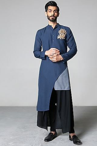 Grey & Blue Asymmetric Kurta Set by Siddartha Tytler Men