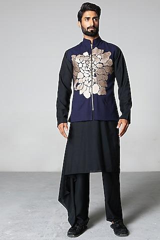 Blue & Black Zari Waistcoat Set by Siddartha Tytler Men