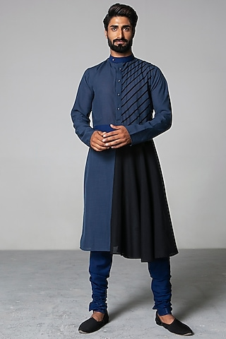 Blue & Black Asymmetric Kurta Set by Siddartha Tytler Men