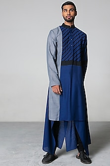 Navy Blue & Grey Kurta Set by Siddartha Tytler Men