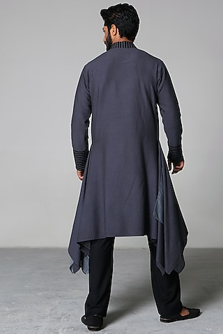 Grey & Charcoal Kurta Set by Siddartha Tytler Men