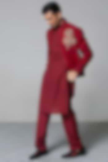 Maroon Zari Jacket Set by Siddartha Tytler Men