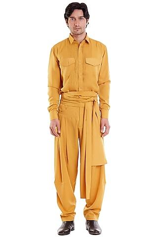 Mustard Microfiber Shirt With Pintucks by Siddartha Tytler Men