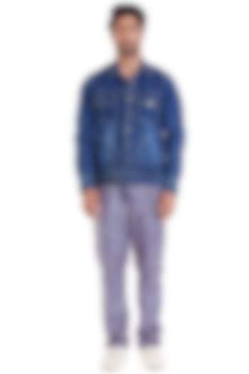 Blue Denim Trucker Jacket by Siddartha Tytler Men