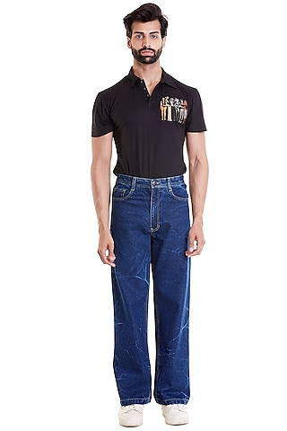 Black T-shirt With Computer Embroidered Patch by Siddartha Tytler Men