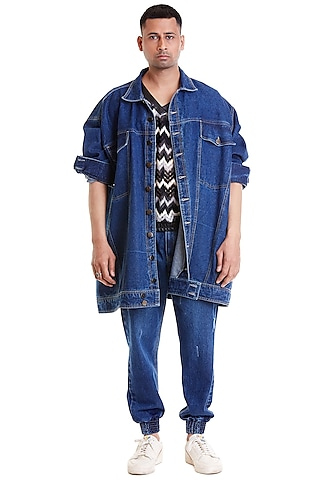 Blue Computer Embroidered Trucker Jacket by Siddartha Tytler Men