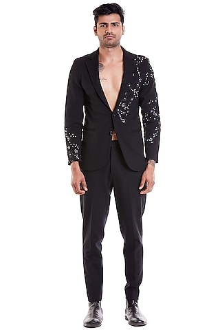 Black Hand Embroidered Suit Jacket by Siddartha Tytler Men