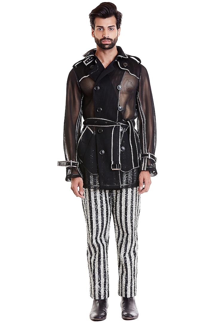 Black Neoprene Trench Coat  by Siddartha Tytler Men
