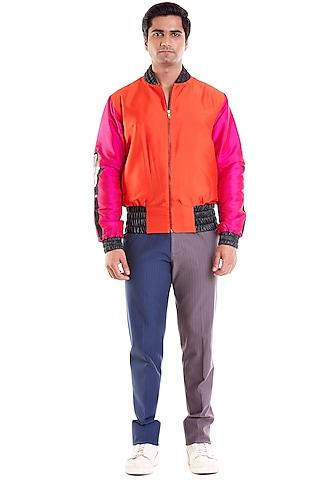 Fuchsia & Orange Computer Embroidered Bomber Jacket by Siddartha Tytler Men