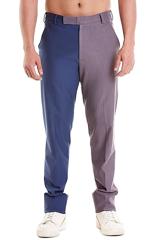 Grey & Navy Blue Pinstriped Formal Pants by Siddartha Tytler Men