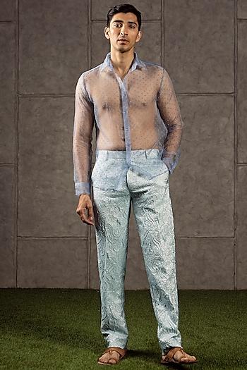 Blue Dotted Organza Shirt by Siddartha Tytler Men