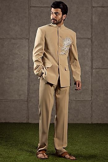 Beige Bandhgala Jacket With Pants by Siddartha Tytler Men