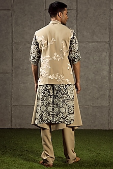Beige Knitted Flap Pants by Siddartha Tytler Men