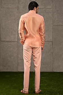 Peach Knitted Formal Pants by Siddartha Tytler Men
