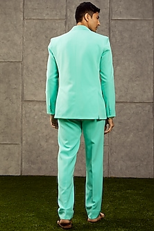 Ice Blue Knitted Suit Set by Siddartha Tytler Men