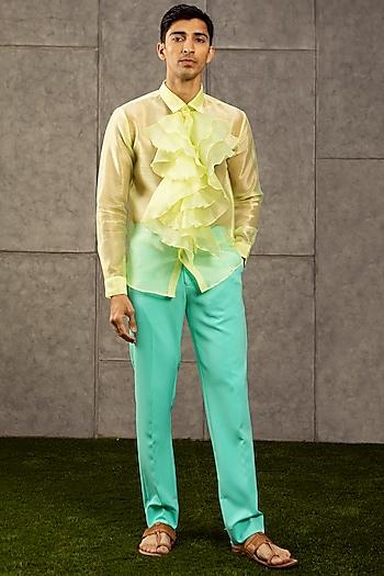 Lime Green Organza Shirt by Siddartha Tytler Men