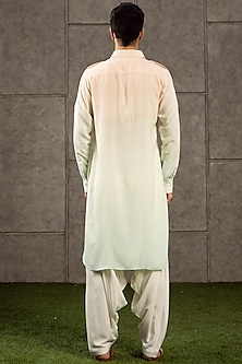 Peach To Blue Ombre Pathani Kurta Set by Siddartha Tytler Men