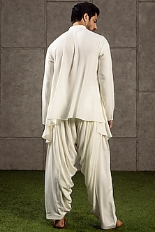 Ivory Draped Kurta Set by Siddartha Tytler Men