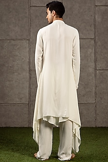 Ivory Draped Kurta With Flap Pants by Siddartha Tytler Men