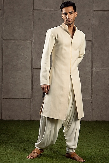 Ivory & Gold Embroidered Sherwani Set by Siddartha Tytler Men