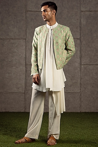 Grass Green & Gold Jacket by Siddartha Tytler Men