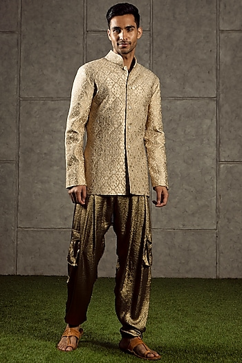 Beige Upcycled Sherwani Cum Jacket by Siddartha Tytler Men