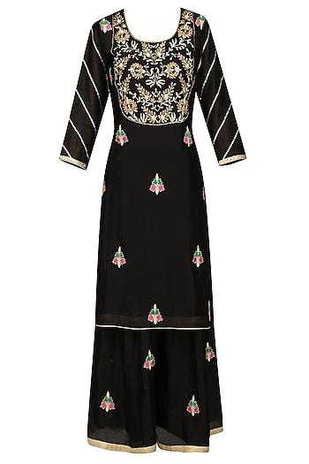 Black Embroidered Kurta with Sharara Pants Set by The Silk Tree