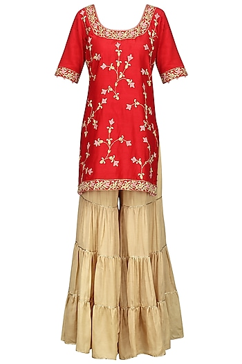 Red Embroidered Kurta with Gold Gharara Pants Set by The Silk Tree