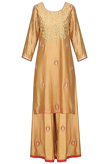 Gold and Red Embroidered Kurta with Sharara Pants Set by The Silk Tree