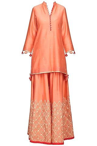 Peach Embroidered Kurta with Sharara Pants Set by The Silk Tree