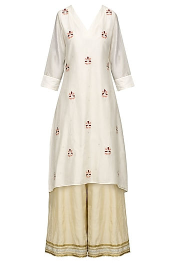 Ivory Embroidered High-Low Kurta with Sharara Pants Set by The Silk Tree
