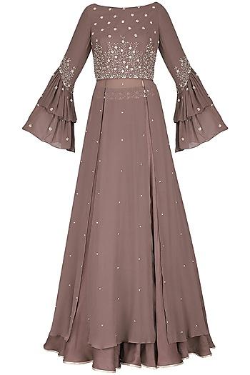 Ash Rose Embellished Blouse with Lehenga Skirt by Seema Thukral