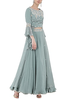 Pebble Green Embroidered Crop Top with Skirt Set by Seema Thukral