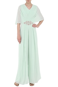 Pistachio Green Embroidered Draped Jumpsuit by Seema Thukral