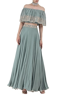 Pebble Green Embroidered Off Shoulder Crop Top with Skirt Set by Seema Thukral