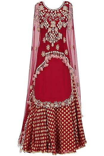 Red Embroidered Kurta and Chanderi Lehenga Set by Seema Thukral