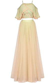 Mint Green and Pink Embroidered Cold Shoulder Crop Top and Tulle Skirt Set by Seema Thukral