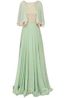 Dusky Green Embroidered Layered Sleeves Pleated Gown by Seema Thukral