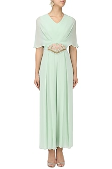 Mint Blue Embroidered Draped Jumpsuit by Seema Thukral