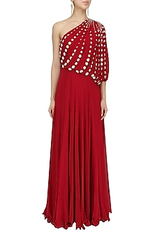 Red Embroidered One Shoulder Draped Gown by Seema Thukral