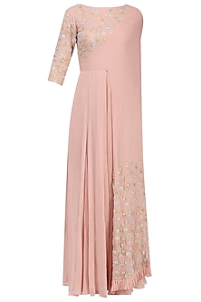 Blush Pink Floral Embroidered Attached Dupatta Anarkali by Seema Thukral
