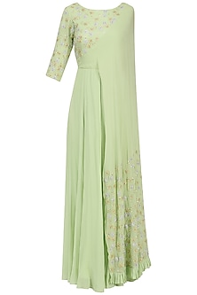 Mint Floral Embroidered Attached Dupatta Anarkali by Seema Thukral